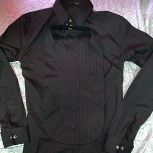 Full black Versace button down shirt